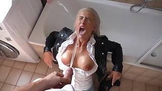 German Blonde relative to Black Leather Jacket Lovemaking