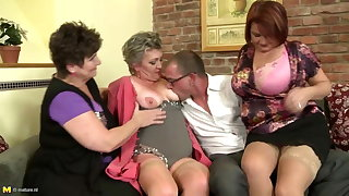 Mature mothers sharing one uncalculated boy's cock