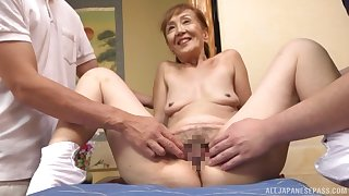 A remarkable threesome Japanese play with a crestfallen granny
