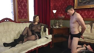 Sex-starved mistress Rose-red Torn is fucking submissive  supplicant and enjoys face sitting