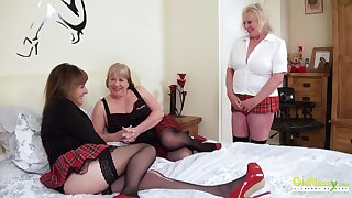 Threesome sexual fillet with three busty british lesbian matures and sex toys