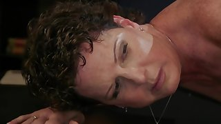 Cougar lesbian fucked by jet-black lezdom