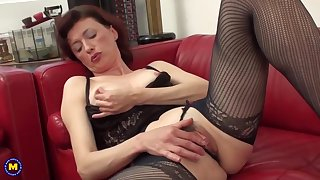 Prisca is a hairy, British unspecified who likes to blotch her pussy on the couch