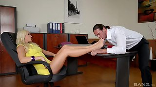 Stunning blonde boss Blanche Bradburry put the screws on to be fucked