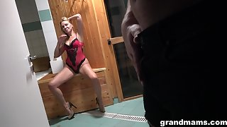 Hot mature lady seduces a young man in the sauna and then fucks him silly