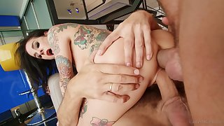 Two men give iconic starlet Joanna Angel a sexual workout